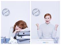 劳累过度和高效率的工作者 库存图片