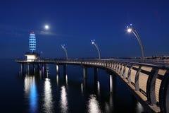 勃兰特St码头在伯灵屯,加拿大在晚上 库存照片