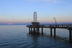 勃兰特St码头在伯灵屯,黄昏的加拿大 免版税库存照片