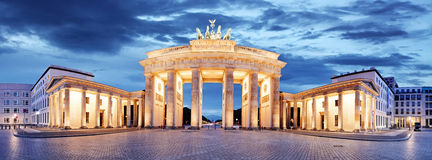 勃兰登堡门,柏林,德国-全景 免版税库存图片