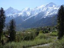 勃朗峰在列斯Houches,法国 免版税库存图片