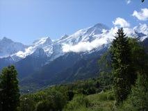勃朗峰在列斯Houches,法国 免版税库存照片