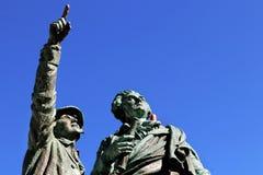 勃朗峰夏慕尼第一个上升山历史占领纪念碑山顶 库存照片