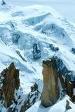 勃朗峰山断层块(从Aiguille du密地挂接的图, F 免版税图库摄影
