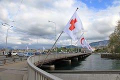 勃朗峰桥梁在日内瓦,瑞士 免版税库存照片