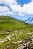 勃朗峰的美丽的景色在法国阿尔卑斯 免版税图库摄影