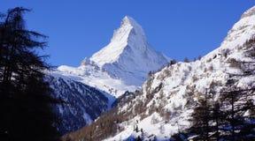 勃朗峰,策马特,瑞士 图库摄影