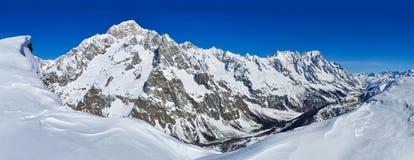 勃朗峰de库尔马耶乌尔和Val Veny全景  库存图片