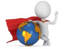 勇敢的超级商人和地球 免版税库存照片
