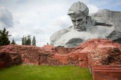 勇气Muzhestvo纪念碑在布雷斯特堡垒,布雷斯特市,白俄罗斯 免版税库存照片