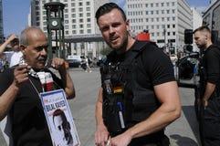 巴勒斯坦人反对以色列_FREE BILAL的进行的抗议 库存图片