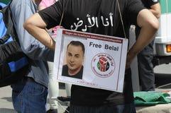 巴勒斯坦人反对以色列_FREE BILAL的进行的抗议 图库摄影