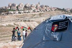 巴勒斯坦人抗议贝拉克・奥巴马 库存图片