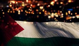 巴勒斯坦国旗光夜Bokeh摘要背景 免版税库存图片