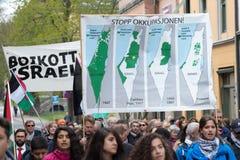巴勒斯坦抗议横幅:抵制以色列和失去的土地地图 免版税库存图片
