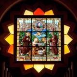 巴勒斯坦,彩色玻璃在诞生的教会里在伯利恒 库存照片