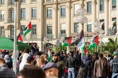 巴勒斯坦活动家在一主要欧元的中心举行一次集会 库存照片