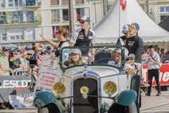 勒芒,法国- 2017年6月16日:丰田赛车手小林可梦伟斯特凡Sarrazin许多的麦克康威队飞行员 库存照片