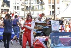 勒芒,法国- 2017年6月16日:克里斯蒂娜尼尔森和她的队亚历山德罗Balzan和C 布雷特Scuderia Corsa法拉利赛跑的队 P 库存照片