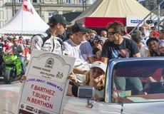 勒芒,法国- 2017年6月16日:法比安・巴特兹的竟赛者队-著名前法国守门员和racerm T Buret N Berthon a 免版税库存图片
