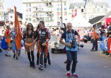 勒芒,法国- 2017年6月16日:赛跑在游行的罗马Rusinov俄国赛车手G驱动飞行员赛跑 库存照片