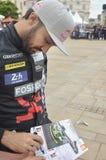 勒芒,法国- 2017年6月16日:Abdulaziz Al飞行员保时捷911游行费萨尔队赛跑24个小时的  免版税库存图片