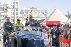 勒芒,法国- 2017年6月16日:尼基Thiim Richie Stanaway Marco Sorensen阿斯顿・马丁赛跑的队 赛跑24个h的飞行员游行  库存图片