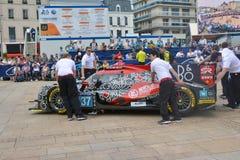 勒芒,法国- 2017年6月11日:赛跑Oreca 07吉布森的成龙DC赛车 2017年6月11日-称,行政和技术 免版税库存图片