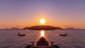 巴勒莫海湾日落 库存图片