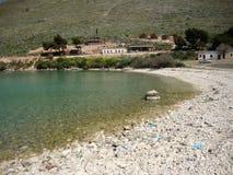 巴勒莫海湾, Himara村庄,南阿尔巴尼亚 图库摄影