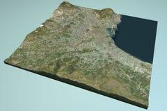 巴勒莫,卫星看法,地图,西西里岛,意大利 免版税图库摄影