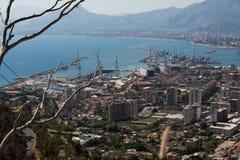 巴勒莫,意大利鸟瞰图  免版税库存图片