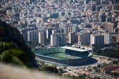 巴勒莫,以体育场为目的意大利鸟瞰图  免版税库存图片