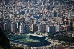 巴勒莫,以体育场为目的意大利鸟瞰图  免版税库存照片