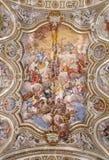 巴勒莫-巴洛克式的教会基耶萨di圣诞老人Caterina天花板  库存图片