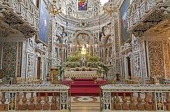 巴勒莫-巴洛克式的教会基耶萨di圣诞老人Caterina长老会的管辖区  免版税库存照片