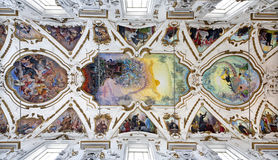 巴勒莫-前评断现代壁画在教会La chiesa del Gesu天花板的  库存图片