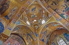 巴勒莫-从圣玛丽亚dell Ammiraglio或La Martorana教会的拜占庭式的马赛克  库存照片