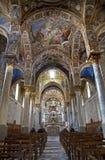 巴勒莫-从圣玛丽亚dell Ammiraglio或La Martorana教会的主要教堂中殿  免版税库存图片