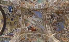 巴勒莫-壁画和马赛克在天花板从圣玛丽亚小山谷Ammiraglio教会  免版税库存照片