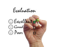 勘测评价表 反馈标志 免版税库存照片