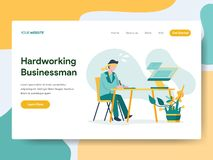 勤勉商人例证概念登陆的页模板  网页设计的现代平的设计观念网站的 向量例证