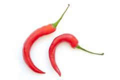 勾子形状在白色背景的辣椒 免版税库存图片