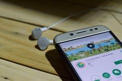 勿加泗,西爪哇省,印度尼西亚 2018年7月04日:在智能手机屏幕上的Ecosia浏览器-快速&绿色dev应用 Ecosia浏览器我 库存照片