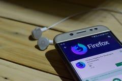 勿加泗,西爪哇省,印度尼西亚 2018年7月04日:Firefox每夜Develovers Unrealesed在智能手机屏幕上的dev应用的 Fi 免版税库存图片