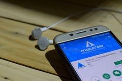 勿加泗,西爪哇省,印度尼西亚 2018年7月04日:MailDroid在智能手机屏幕上的dev应用 自由电子邮件应用是免费软件 库存照片