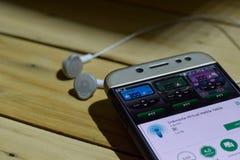 勿加泗,西爪哇省,印度尼西亚 2018年7月04日:印度尼西亚Virual携带无线电话在智能手机屏幕上的dev应用 印度尼西亚Virua 库存照片