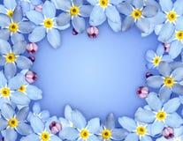 蓝色花框架 库存图片