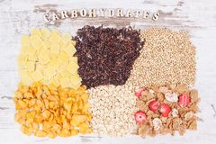 包含碳水化合物、矿物和饮食纤维,健康营养概念的自然食物 图库摄影