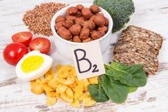 包含维生素B2、自然矿物和纤维,健康营养的滋补成份 免版税库存图片